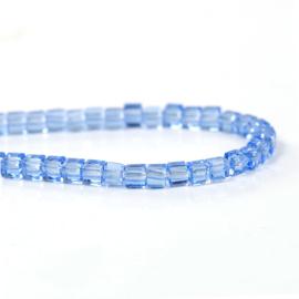 Kristal Glas Kubus kralen Blue 3mm (per streng)