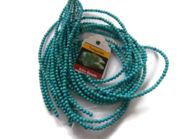 Howliet Turquoise Blue kraal rond 3mm per streng