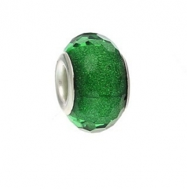 Resin kraal Pandora Style Green glitter
