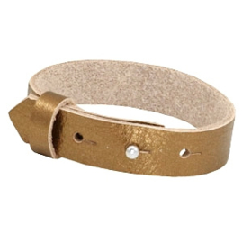 Cuoio Armband Leer 15mm Metallic Gold