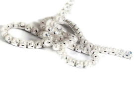 Cup chain / Mesh parel ketting silver tone  3x3mm