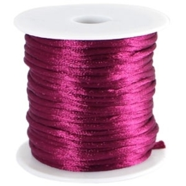 Satijn koord Aubergine Purple 2mm dik