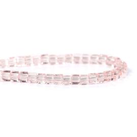 Kristal Glas Kubus kralen Pink 3mm (per streng)