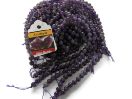 Natural Amethyst rond 6mm per streng