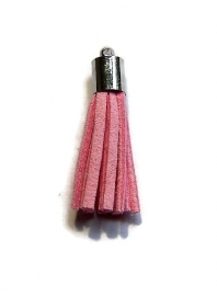 Kwastje Roze (zilverkleur kapje)