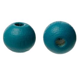 Houten ronde kraal Peacock Blue 8mm (ca 40 stuks)