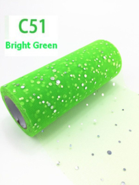 Tule GLITTER Bright Green 15cm breed  rol 22 meter C51