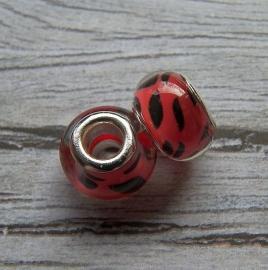 Resin kraal Pandora Style  Red Spot Leopard