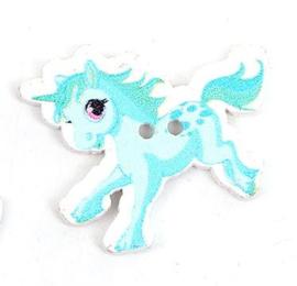 Knoop Hout Eenhoorn Pony Aqua Blauw