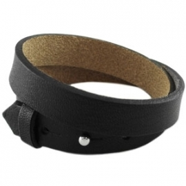 DUBBELE Cuoio Armband Leer 15mm Zwart