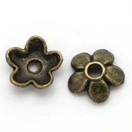 Kralenkapje Bloem Bronze 6x6mm (50st.)