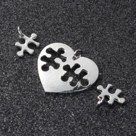Hanger Hart met 2 Puzzelstukjes Silver Tone