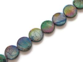 Schelp kralen rond plat Rainbow (streng)