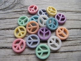 Peace kralen Acryl Pastel Mix (16st)