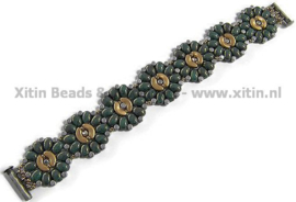 Xitin Flower Bracelet Dark Turquoise Green Bronze