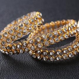 Strook hotfix strass 2 rijen Crystal  Gold 120cm