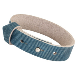 Cuoio Armband Leer 15mm Denim Blue