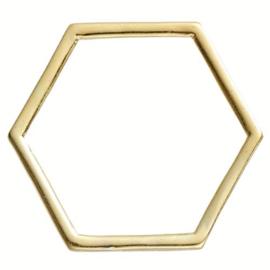 Ring Zeskant Honingraat 2,3 cm diameter GOUDKLEURIG