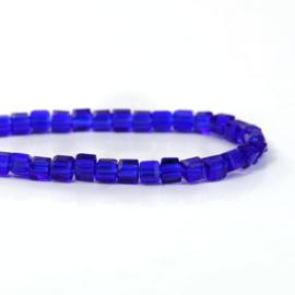 Kristal Glas Kubus kralen Royal Blue 3mm (per streng)