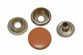 Leder drukknopen Zalm / Oranje 15mm dia (10 sets)