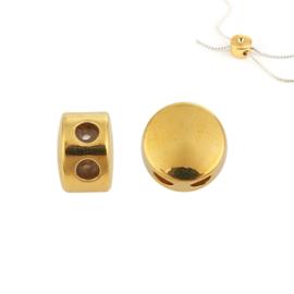 Schuifslot voor koord of ketting dubbel gat Gold Plated