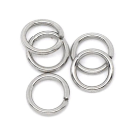 Jump ring Silver Tone RVS 10mm (25st)