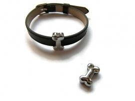 Slider kraal Dogbone Smooth Rhinestone voor 8mm plat leer/koord