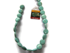 Howliet Turquoise kraal Coin 16mm per streng