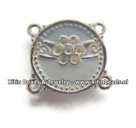 Connector Dolce Luna Emaille met Bloem in Blauwtinten