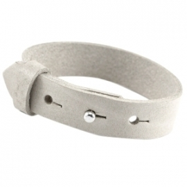 Cuoio Armband Leer 15mm Light Grey