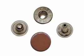 Leder drukknopen Bruin 12mm dia (10 sets)