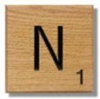 Houten Scrabble Letter N