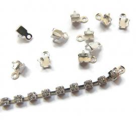 Cup chain klemmetje met oogje zilverkleur 2-2,5mm (10st)