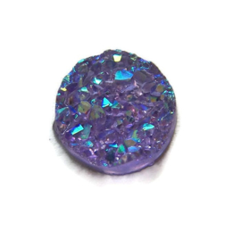 Druzy Resin cabochon rond  Purple 12mm