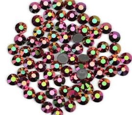Rhinestone Flatback  SS12 Rainbow Rose Gold Hematite 3mm