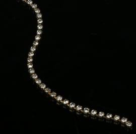 Cup chain / Mesh strass ketting Gold tone 3x3mm