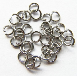 Jump ring Silver Tone RVS 5mm