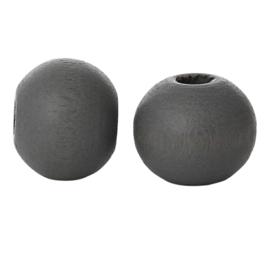 Houten ronde kraal Dark Grey 6mm (ca 100 stuks)
