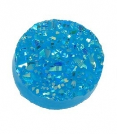 Druzy Resin cabochon rond  Blauw 12mm