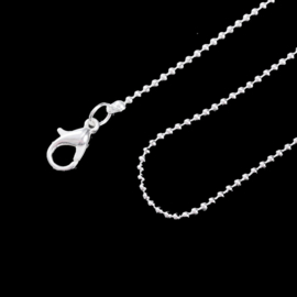 Ballchain ketting 1.5mm zilverkleur met slotje