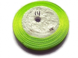No.14 Neon Geel-Groen Satijnlint 6mm (per rol)