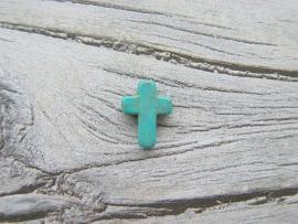Howliet kruisje Turquoise 16x12mm