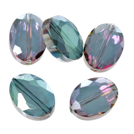 Facet Kristal Glaskralen Ovaal Purple & Green AB 12x9mm