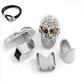 Leer Slot Doodshoofd / skull Rhinestone