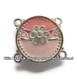 Connector Dolce Luna Emaille met Bloem in Roze & Rood tinten