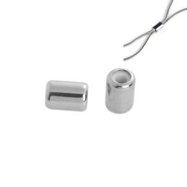 Schuifslot voor koord of ketting Cilinder Silver Tone