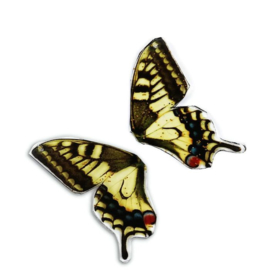 Resin Butterfly Wings Geel (2st)