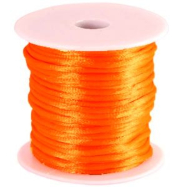 Satijnkoord Oranje NEON 1mm dik
