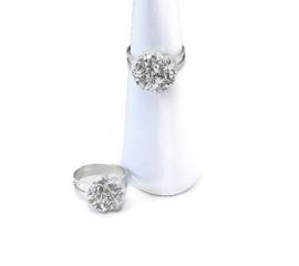 Ringetje met zilverkleurige druzy resin top