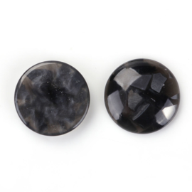 Resin Cabochon Rond, Antraciet Flakes 18mm